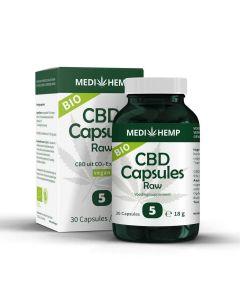 CBD Olie Raw capsules 5% - 30 Stuks - potje vooraanzicht