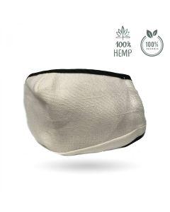 Duurzaam herbruikbaar beschermend mondkapje van hennepvezel gebroken wit Dutch Natural Healing buitenkant
